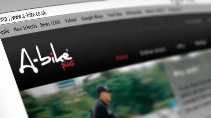 Oblique screengrab of the proposed redesign of A-bike.co.uk website