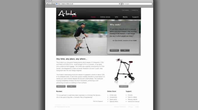 Image of the proposed redesign of A-bike.co.uk website