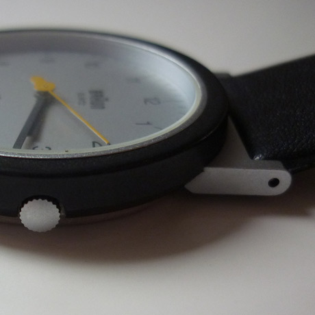 Photo of AW10 Wristwatch by Braun showing the case, glass, crown, strap and lugs