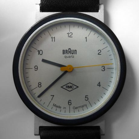 Close up of the dial of the Braun AW10 Wristwatch designed by Dietrich Lubs in 1989
