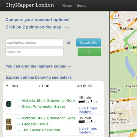 Citymapper Transport Comparison Mashup Site