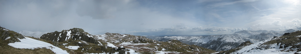 Panorama of the Cumbrian fells covered in snow displayed via HTML5 and canvas