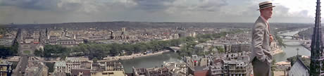 Paris Skyline Panorama From Roof Of Notre Dame with Fred Astaire in foreground