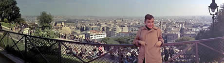 Paris Skyline Panorama From Sacre Coeur Montmartre with Audrey Hepburn in foreground