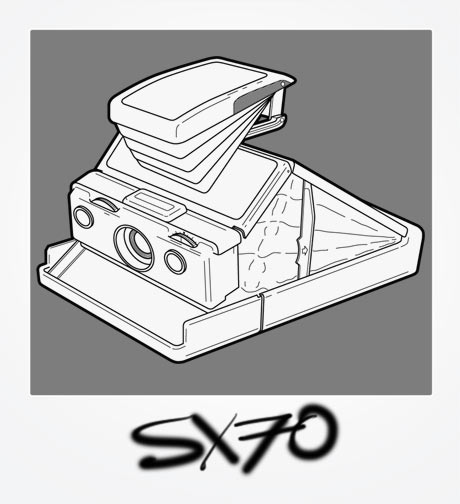 Polaroid SX70 Illustration - lineart outline of SX70 folding camera in a Polaroid frame