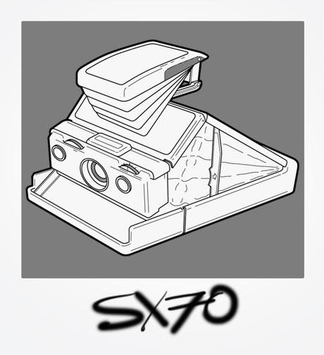Polaroid SX70 Illustration - lineart outline of SX70 folding camera in a Polaroid frame