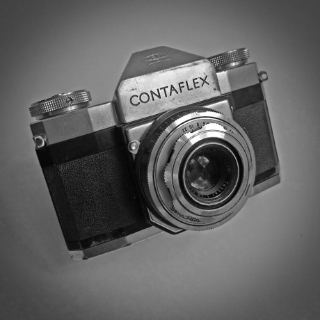 Photo of a Zeiss Contaflex - mid-1950s SLR camera in black and white