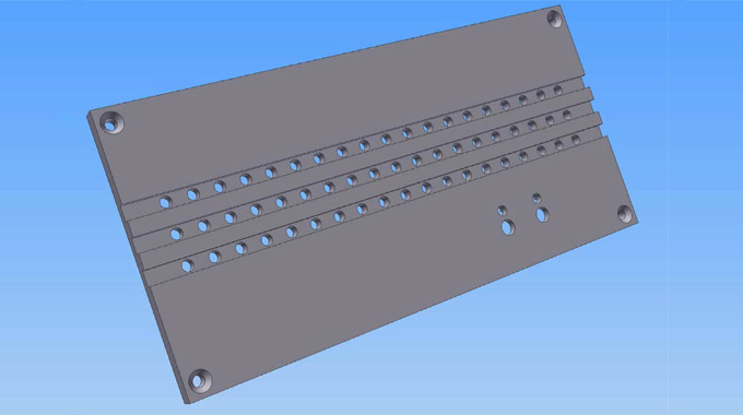 3D rendering of the server casing design showing countersinks and the grooved strips for the ventilation holes