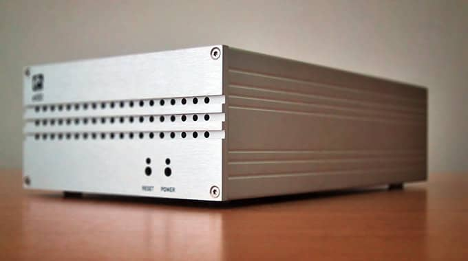 Photo of the completed machined aluminium casing for a mini server designed to encode and stream realtime video