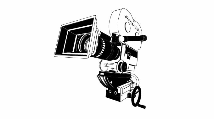 3d Illustration of a panavision camera  filled
