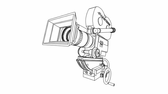 3d Illustration of a panavision camera in outline before being filled