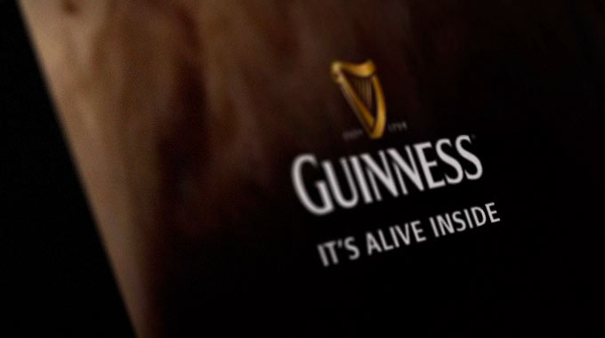 Oblique shot of a frame from the latest Guinness advert, from The Assembly Rooms website.