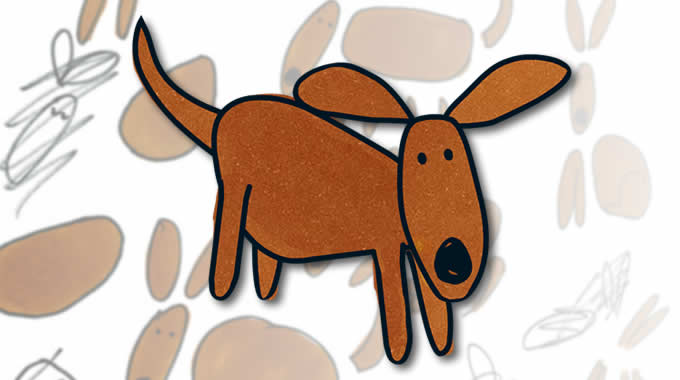 Wallace the dog - example frame from final animation of character, superimposed on some original sketches