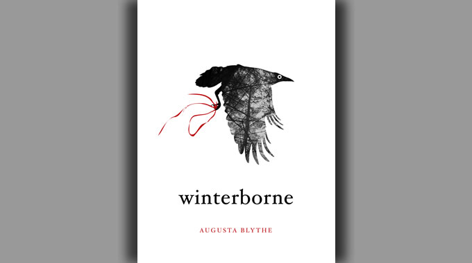 The cover of Winterborne, featuring a crow flying on a white background carrying a red ribbon